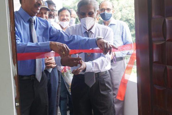 Brig CS Vidyasagar, Founder president and Chief Mentor, TSEWA cutting the ribbon along with Cmde Sudheer Parakala, present President