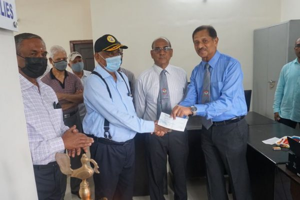 President and Lt Col Parvatesam General Secretary receiving a donation of Rs.50000 from Col Dayakar Thota