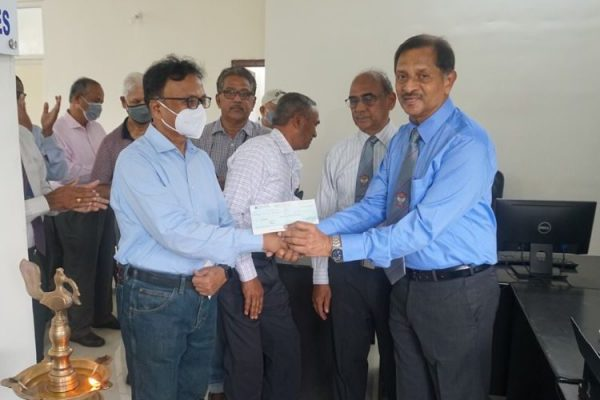 President receiving donation of Rs.20000 from Maj Nagabhushanam on behalf of Smt Umadevi Ponna